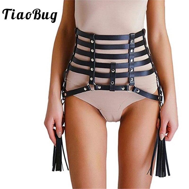 TiaoBug Fashion Women Punk Faux Leather Sexy Goth Tassel Belt Body Waist Cage Bondage Harness Strap Belt Skirt Club Rave Costume