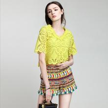 Summer brief sleeve yellow white v-neck tassel brief pant girl seaside informal ladies's set two items go well with