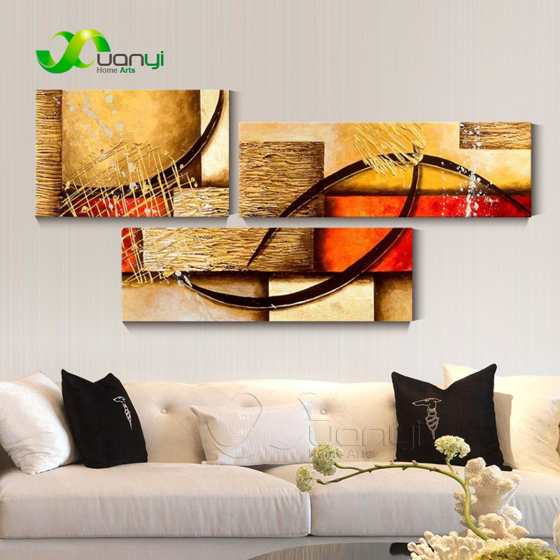 Decorative Pictures 3 Pieces Abstract Oil Painting On Canvas