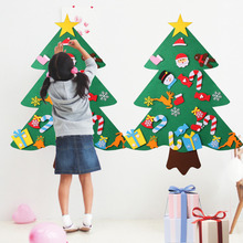 DIY Felt Christmas Tree Set Happy New Year Door Wall Hanging Decoration Children Xmas Gifts Christmas Decoration For Home
