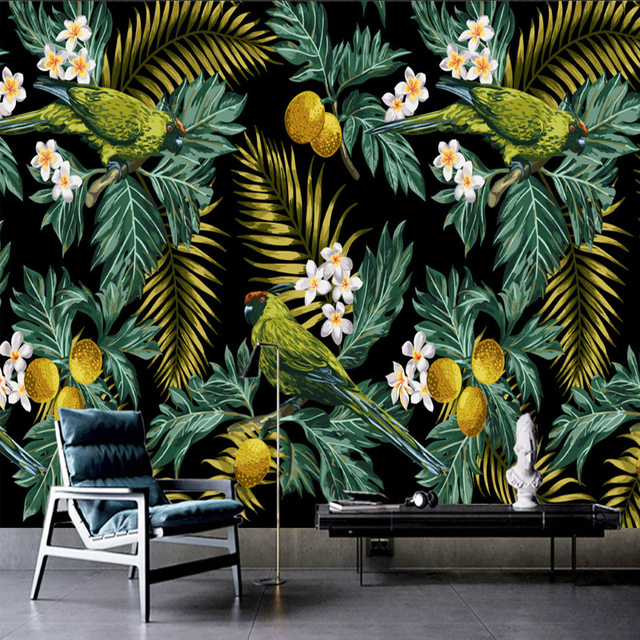 3d Wallpaper Feature Wall Custom 3d Mural Tropical Rain Forest Parrot Coconut Leaf
