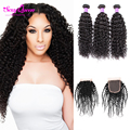 Grade 8A Malaysian Virgin Hair With Closure Afro Kinky Curly Hair 3 4 Bundles With Closure Human Hair Weave Bundles With Closure