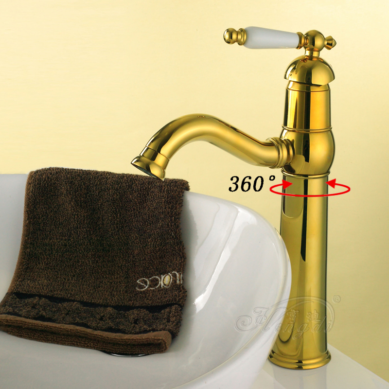 Modern Gold Faucet,Gold Bathroom Faucets,Gold Finish Basin Faucets,Gold Tall High Bathroom Sink Faucet ems dhl free shipping gold finish bathroom sink beauty faucet gold clour sink faucet artistic basin faucet luxurious faucet
