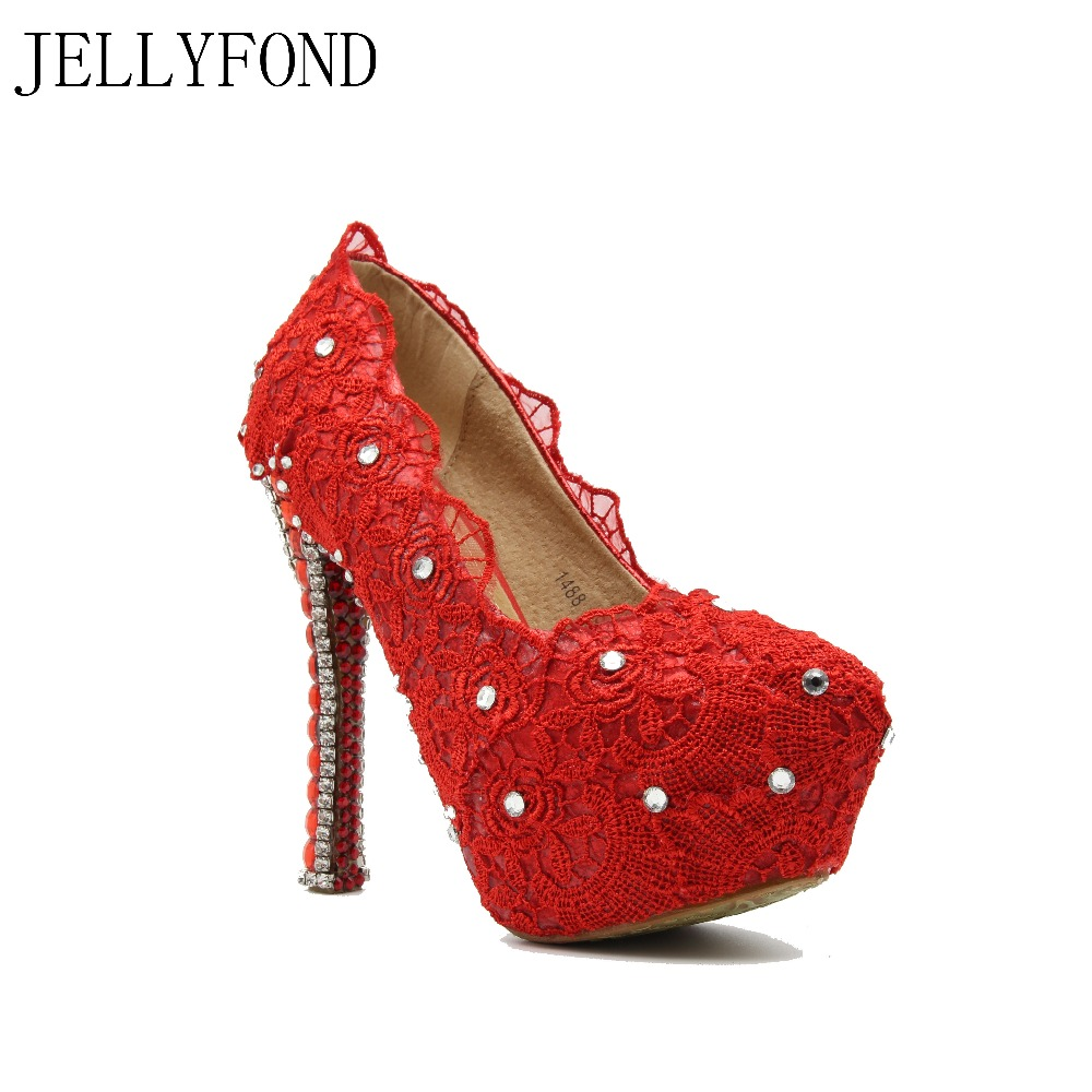 JELLYFOND 2017 Red Lace Rhinestones Wedding Shoes Bridal Sexy High Heel Dress Shoes Woman Big Size Celebrity Party Pumps цены онлайн