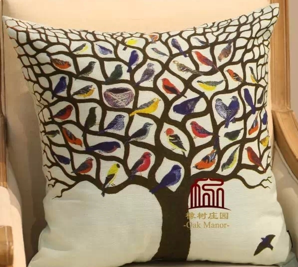 New 2017 American Style Vintage Bird Cushion Cover 50cm Pillow Cases Ikea Tree Covers Decorative