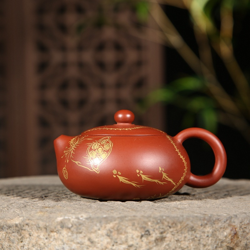Yixing quality goods are recommended by colour lotus undressed ore mud dahongpao zhu bian xi shi pot teapot wholesaleYixing quality goods are recommended by colour lotus undressed ore mud dahongpao zhu bian xi shi pot teapot wholesale