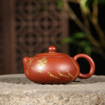 Yixing quality goods are recommended by colour lotus undressed ore mud dahongpao zhu bian xi shi pot teapot wholesale