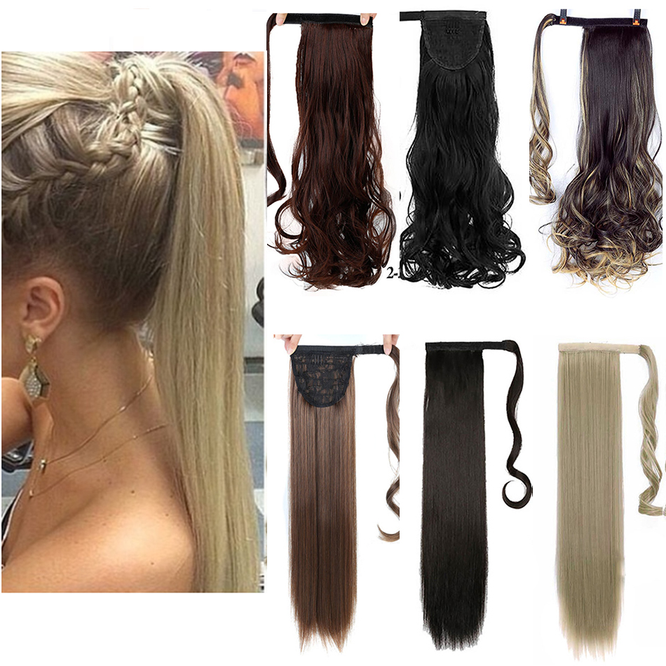 MUMUPI straight/Curly Long Ponytail Hair Extensions Women Girls Fashion Wrap Around Clip In PonyTail Hairpieces   headwear