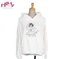 Himifashion Brand Women Hoodies Sweatshirt White Cute Cat Girl Cartoon Prints Cotton Hoody With Cap Pink