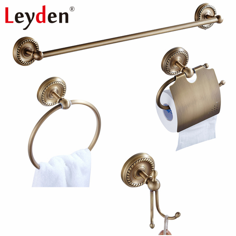Leyden 4pcs European Brass Antique Towel Bar Toilet Paper Holder Clothes Hook Towel Ring Wall Mounted Antique Bathroom Accessory