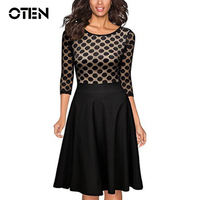 2016 Women Slim Sexy Causal Dots Lace Stitching Package Hip Dress Ladies Wear To Work Pencil