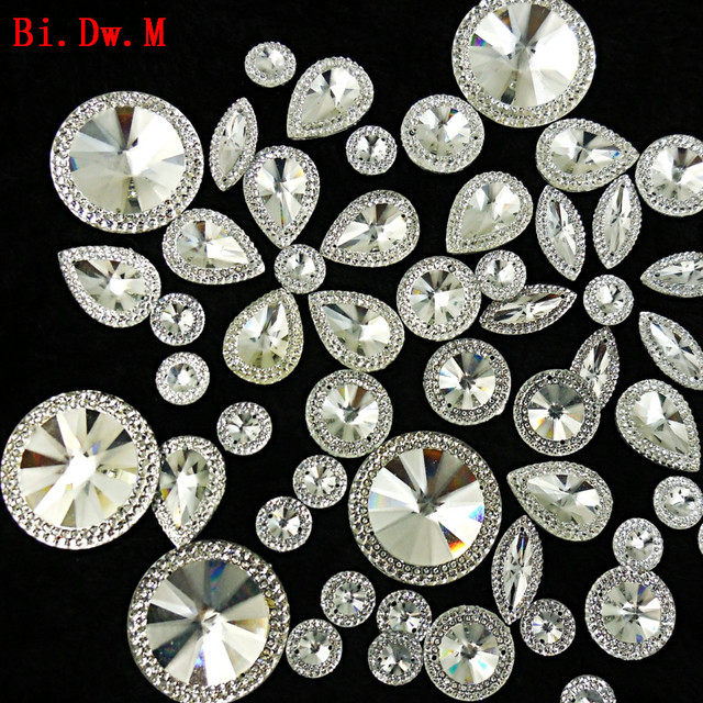 049260bba2b56 US $8.07 7% OFF|Nice Round Marquise Pear Resin Rhinestone mix Silver Strass  Crystal Stones For Crafts Sewing Home and Garden Wedding Decoration-in ...