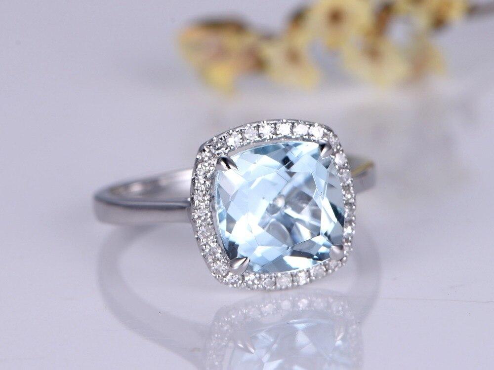 MYRAY Solid 14k White Gold 8x8mm Cushion Cut Natural Blue Aquamarine Gemstone Halo Engagement Rings Vintage Wedding Ring Women