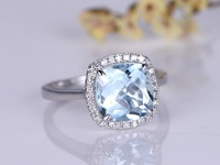 MYRAY Solid 14k White Gold 8x8mm Cushion Cut Natural Blue Aquamarine Gemstone Halo Engagement Rings Vintage