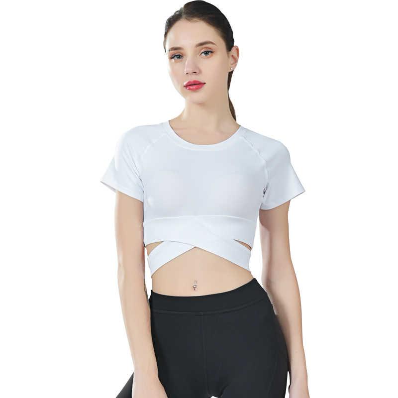 النساء تجريب قمصان سريعة الجافة الرياضة المحاصيل أعلى تشغيل الرياضية اليوغا اللياقة البدنية رياضة المحاصيل أعلى الملابس خزان أعلى