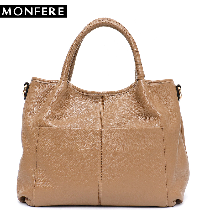 MONFERE High Quality Real Leather Top-handle Bags Women Large Front Pocket Tote Bag Female Cowhide Big Cross body Bag Soft Skin