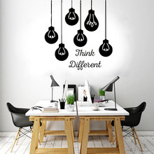 Think Different Quotes Office Business Wall Sticker Vinyl Interior Decoration Light Bulb Decals Teamwork Murals A226 printio apple think different