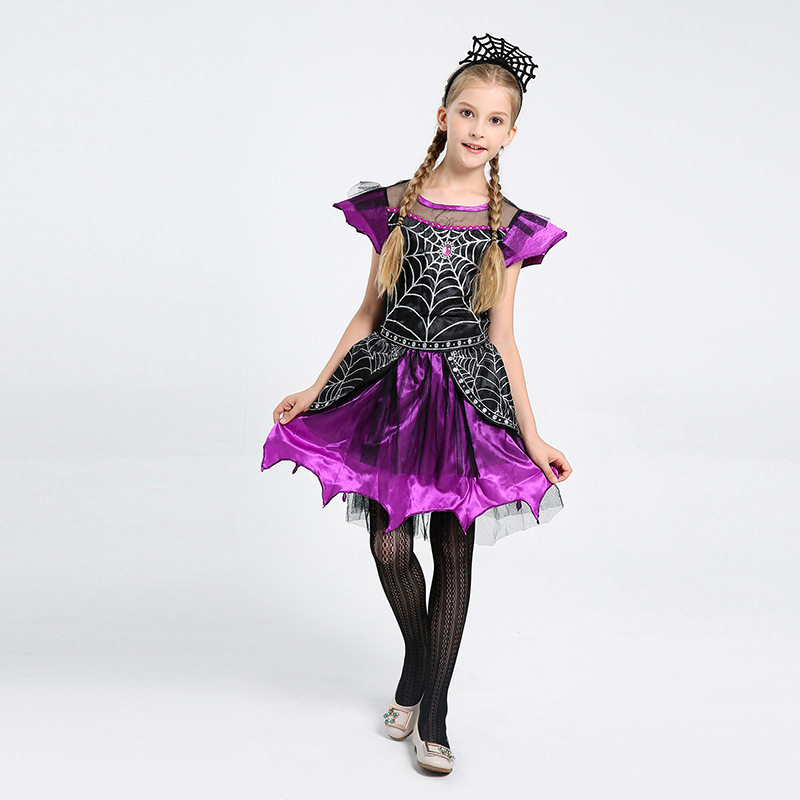 Girls Spider Queen Child Halloween Fancy Dress Costume