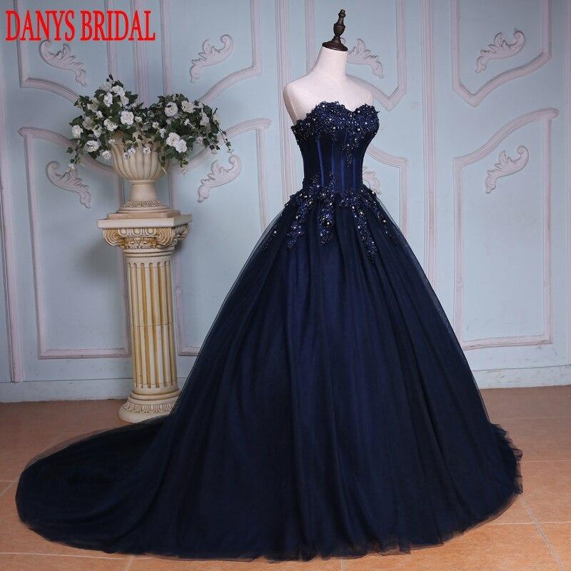Mornarsko plava haljina s loptom Princess Quinceanera Haljine - Haljina za posebne prigode - Foto 2