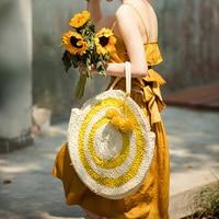 2018 Summer Large Round Straw Beach Bag Tassels Pom Pom Women Natural Handbag Corn Skin Totes Bag Yellow Striped Circular