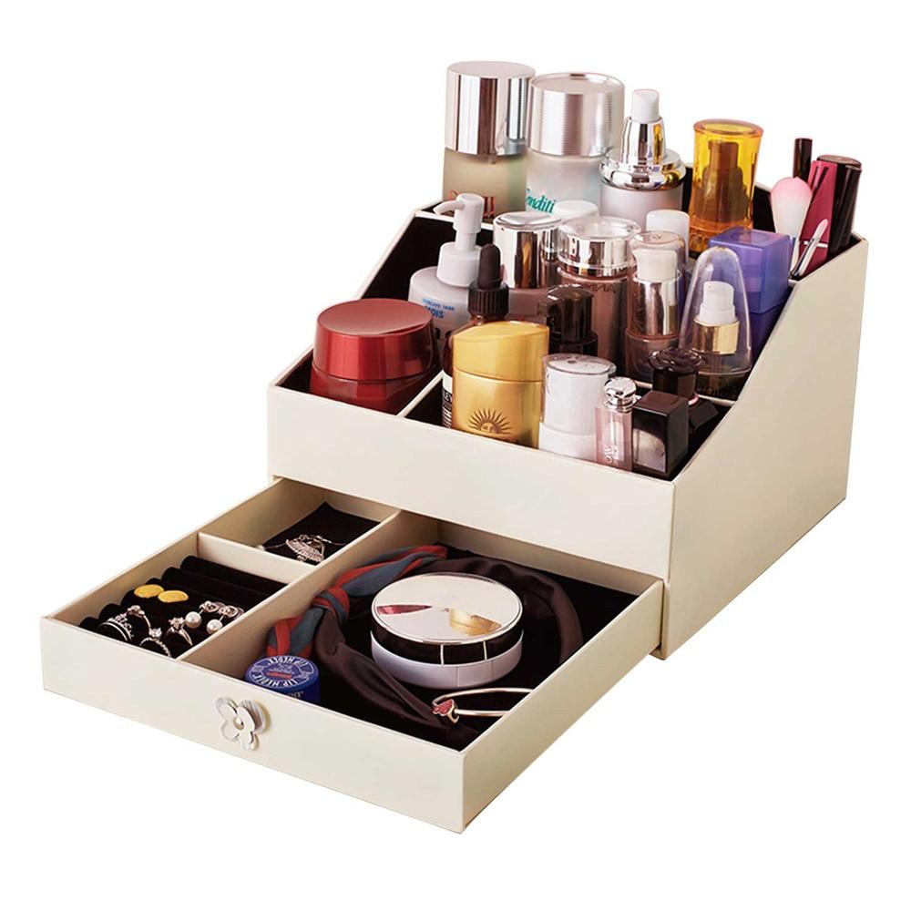 Kpop cosmétiques bijoux bureau trier boîte de rangement multicouche multi-grille boîte d'affichage PU cuir boîte de transport/étuis OB701