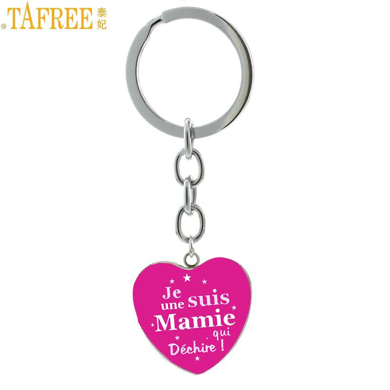 TAFREE Hot Sale Merci Maitresse Keychain Exquisite Handmade Je Suis Une Mamie Qui Dechire Key Chain Ring For Teachers Gift HP568