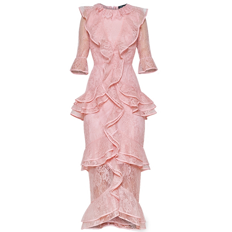 Qian Han Zi newest 2019 Designer fashion Runway Maxi dress Women's Flare Sleeve vintage Ruffle Embroidered Slim Party Lace Dress-in Dresses from Women's Clothing    1