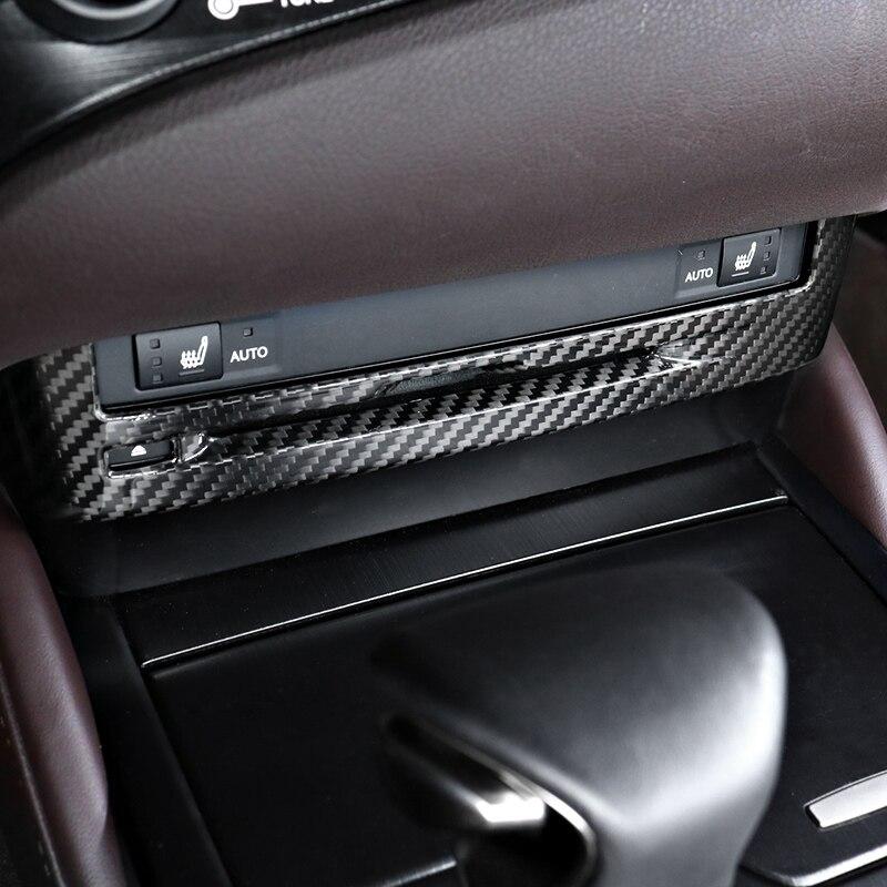 QHCP Del Cambio di Controllo del Pannello Pannello CD Scatola di Immagazzinaggio Della Copertura Supporto di Tazza di Acqua Adesivo In Fibra di Carbonio Fit Per Lexus ES200 260 300H 2018 - 3