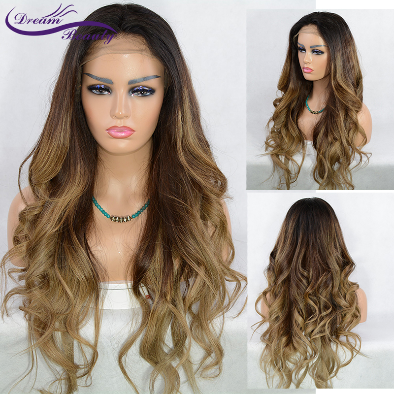 Highlight Ombre Blonde 13X6 Deep Part Lace Front Human Hair Wigs Preplucked Remy Wavy Lace Frontal Closure Wig Dream Beauty