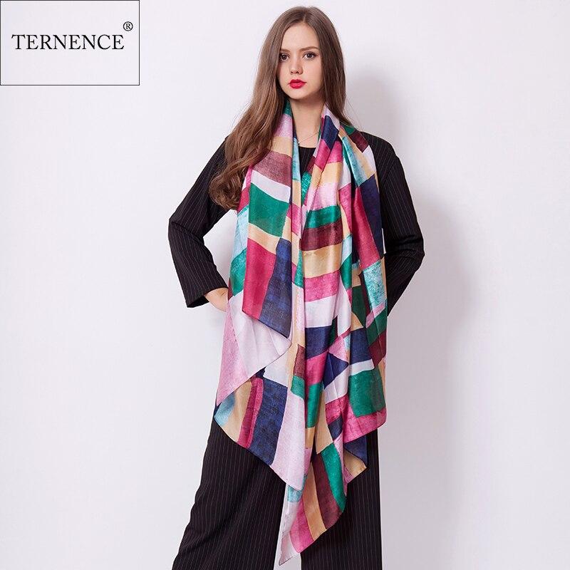 [Ternence] Bufanda de seda Gran mujer Impresión de la tela escocesa Bufanda Chal Lujo Marca Bandana