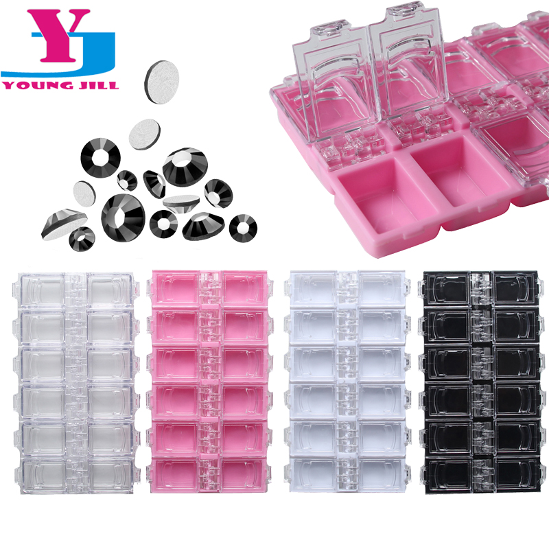 Ny 12 Checks Empty Nail Art Decorations Opbevaringskasse Box Nail Glitter Rhinestone Crystal Perler Tilbehør Container Engros