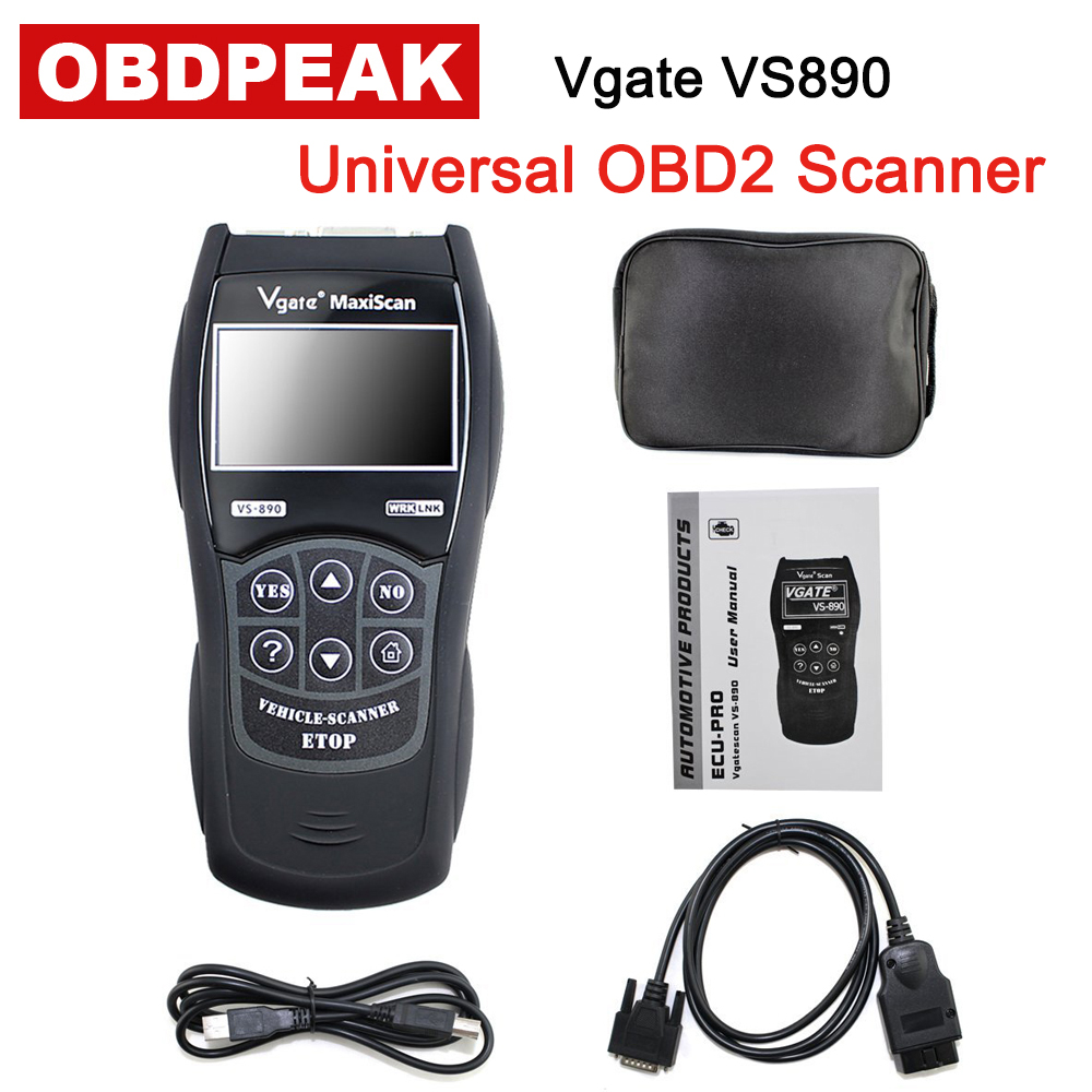 Vgate VS890 OBD2 EOBD Diagnostic Tool VS890 MaxiScan Vgate OBD SCAN Multi-Language VS 890 Car Code Reader Free Shipping 2pc lot free shipping vgate vs450 for vag obdii obd 2 code reader car diagnostic tool vs 450 reset airbag abs can scanner