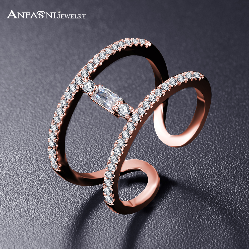 ANFASNI Unique Design Open H Shape Ringss