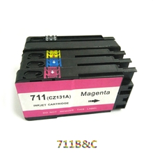 1SET High quality  For HP 711 Refillable Ink Cartridges with Permanent Chip Deskjet 3525 4615 4625 5525 6525 Printer