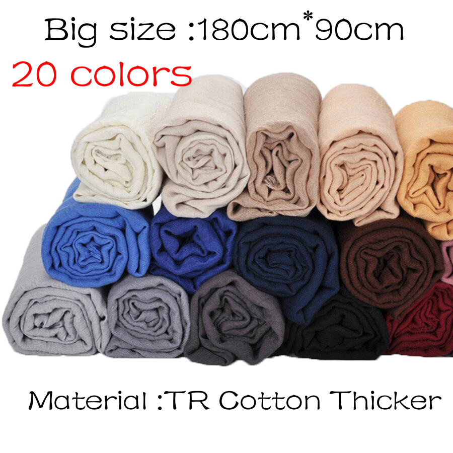 1 pcs Plain hijabs for women viscose solid color winter   scarf   muslim head   wrap   tassel   scarves   20 colors plus size 180CM*90CM