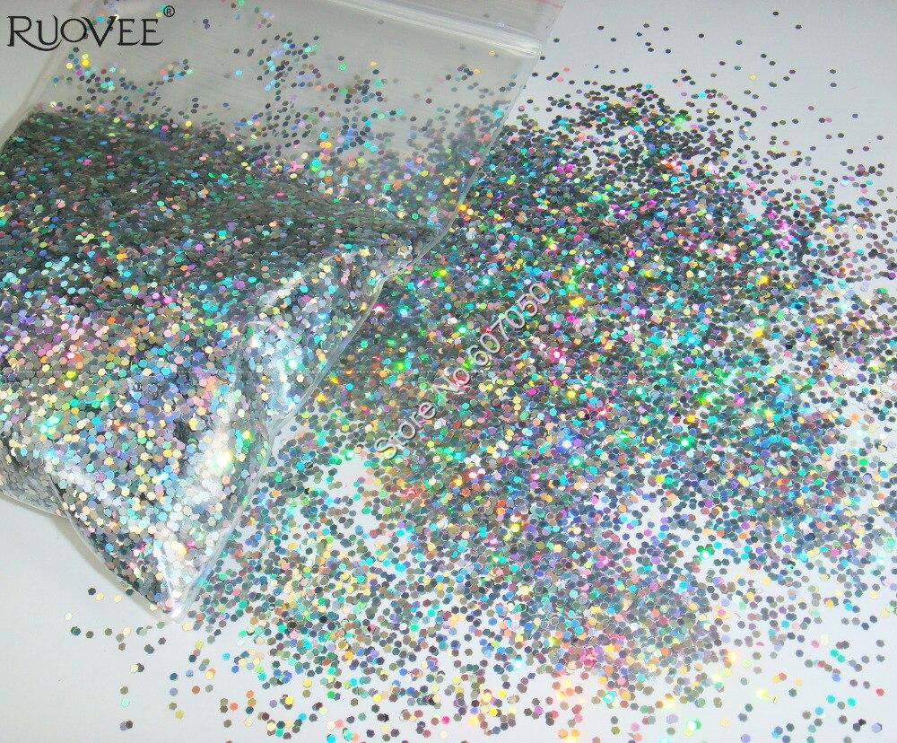 """50 г-1 мм(1/2"""") 040 Блестки для ногтей Серебристые ослепительные шестиугольные блестки Spangle shape для дизайна ногтей и блестки для ногтей"""
