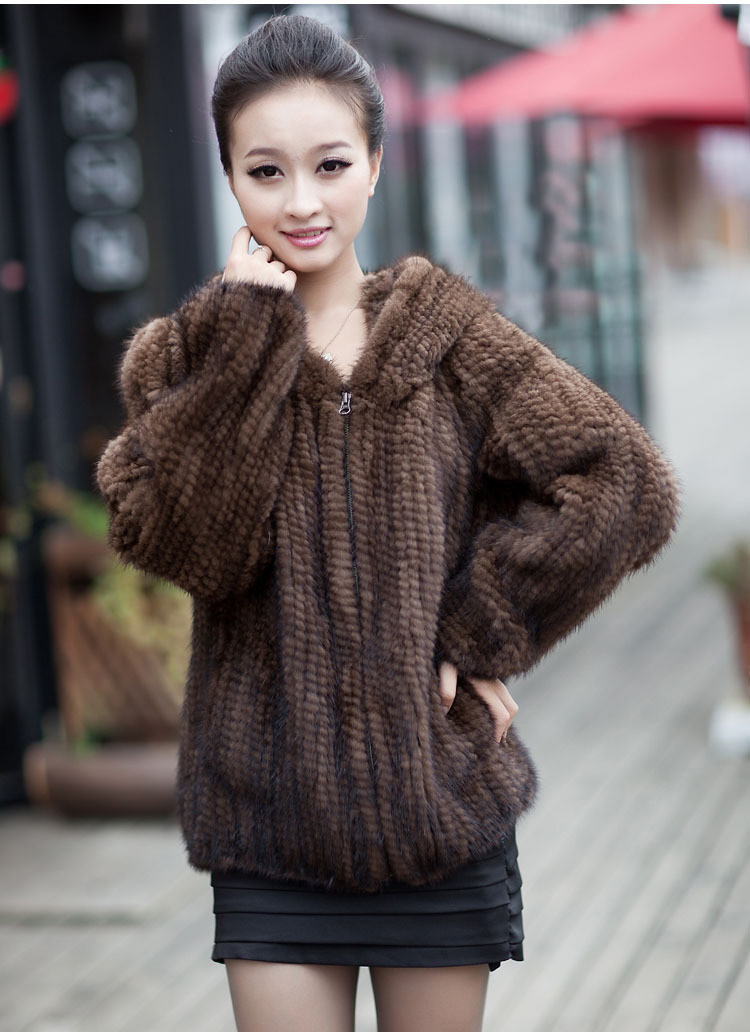 Hot Sales Real Knit Mink Fur Jacket For Women Top Fashion Natural ...