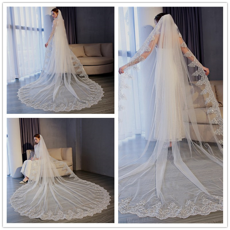New 3M * 3M Tug-tailed Long Veil Wedding Dress Accessories With Combing Bride Yarn Wendding Veils Long