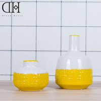 Dream House DH Yellow Modern Fashion Ceramic Traditional Chinese Vase Home Garden Wedding Decoration Ornament