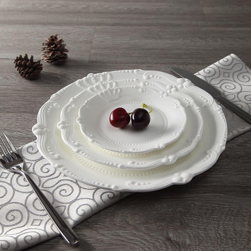Service d'assiettes en céramique porcelaine | Soulagement de la couronne royale de 6 ''8'' 10 ''assiette principale, plateau de service, vaisselle pour Restaurant, Home café - 6