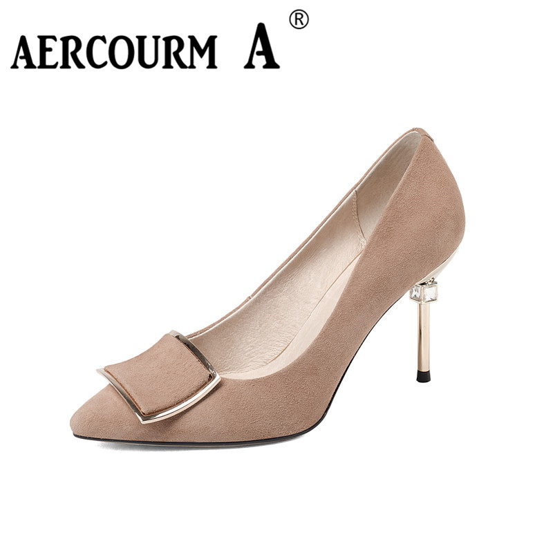 Aercourm A 2017 Spring Genuine Leather Women Shoes Female Black Pointed Sexy Party Leather Shoes Lady High Heel Metal Shoes F005 22mm mounting diameter metal usb2 0 female a change to female a black surface