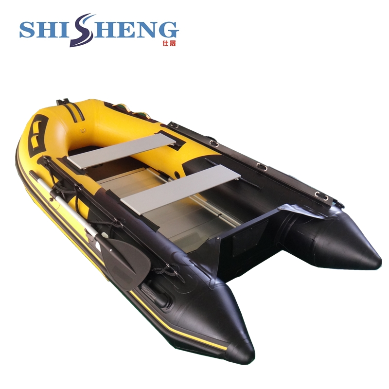 Top Quality Aluminum Work Fishing Boat Aluminum Floor Rowing Boat For Sale 2017 aluminum floor inflatable folding boat 300cm army green and black for sale