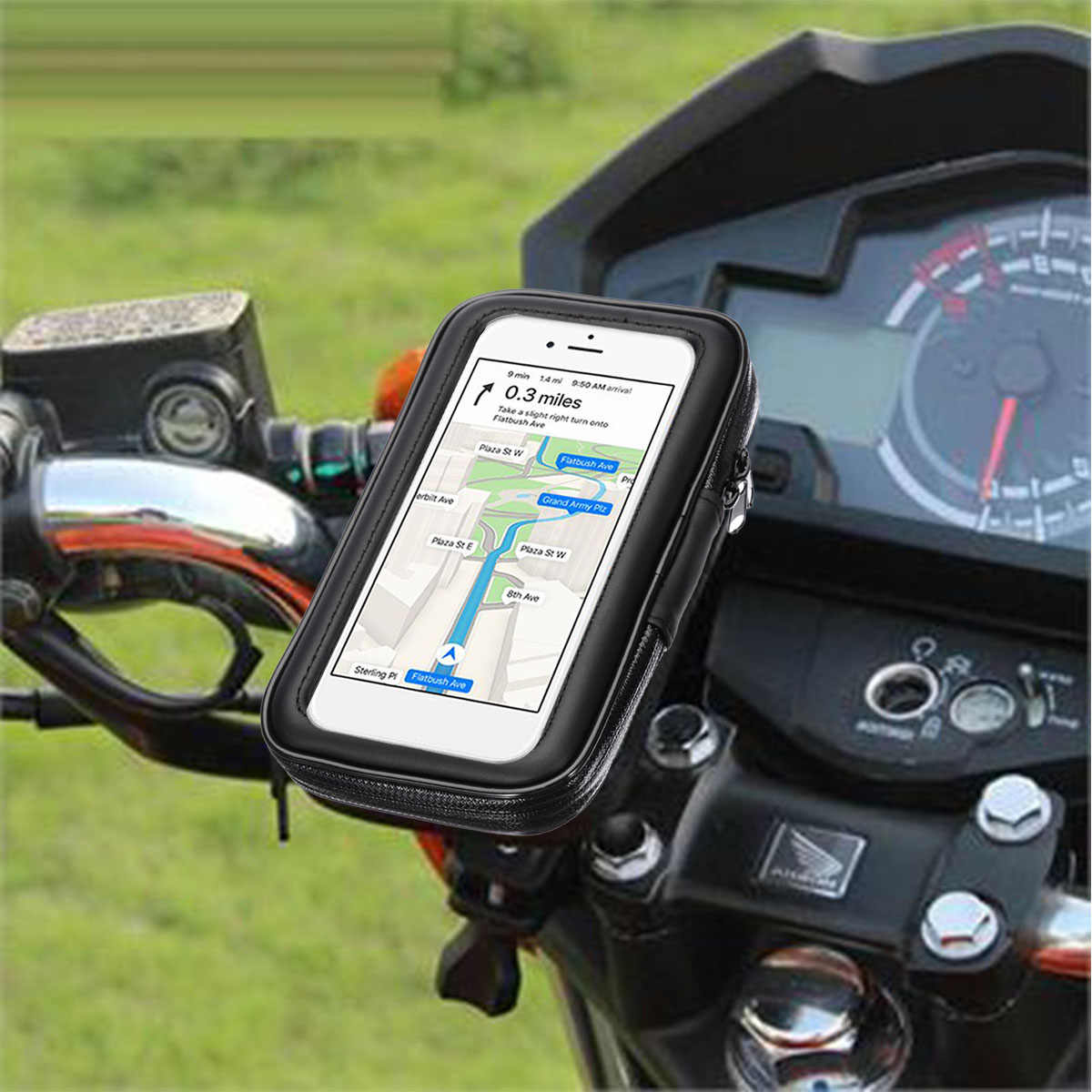 1PC Black Motorcycle Bike Bicycle Waterproof  Cell Phone GPS Case Bag Handlebar Mount Holder Stand Support