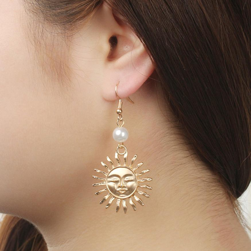 2018 New Arrival Fashion Creative Pearl Sun Flower Smiley Earrings Jewelry Drop Earring Gift Delicate dropship May 7