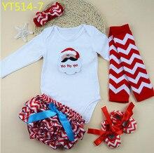Новые девушки Рождество устанавливает детские младенческой Новорожденных боди + обувь малыша + Шеврон грелка ноги + рябить шаровары + оголовье 5 шт. костюм