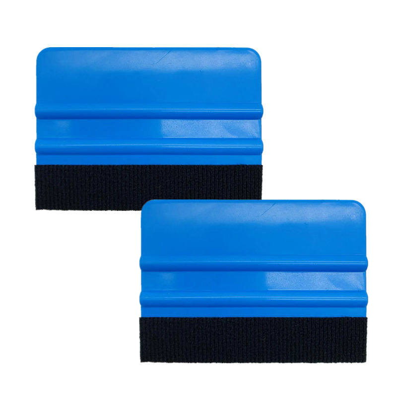 2Pcs Squeegee Car Film Tool Vinyl Blue Plastic Scraper Squeegee With Soft Felt Edge Window Glass Decal Applicator
