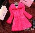2016 new real Rabbit Fur Coat women full pelt rabbit fur jacket Winter long Fur Waistcoat customized big size free shipping J36
