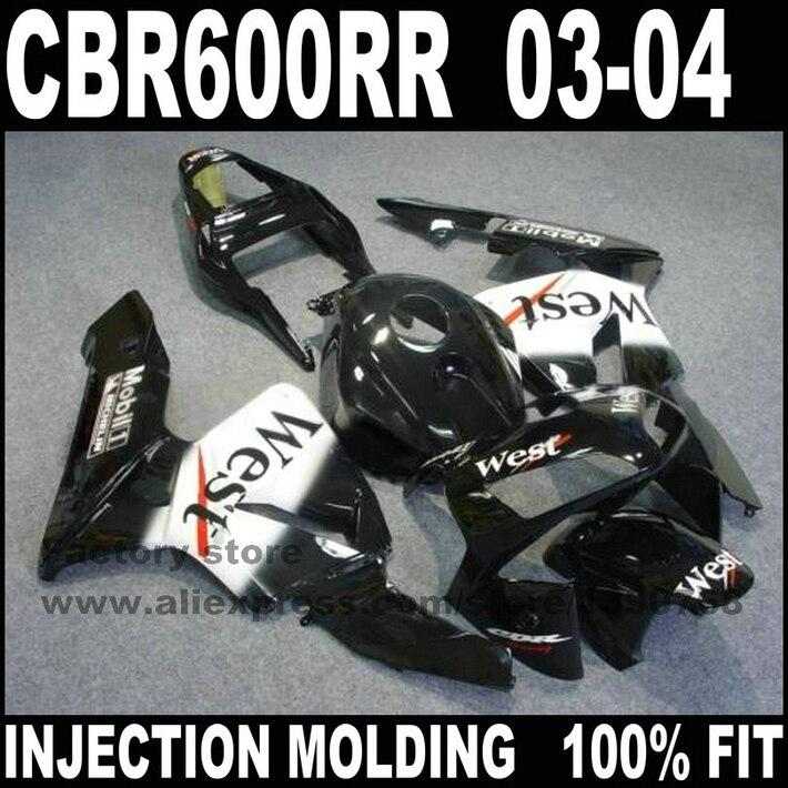 ABS пластиковые инжекционные Обтекатели комплекты для 2003 2004 HONDA CBR 600 F5 CBR 600 RR CBR600 RR 03 04 черный Западный обтекатель части кузова