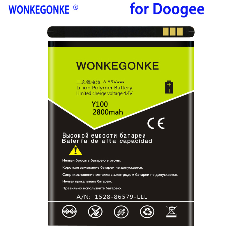 WONKEGONKE 2800mah For <font><b>Doogee</b></font> <font><b>Valencia</b></font> <font><b>2</b></font> <font><b>Y100</b></font> Battery <font><b>Y100</b></font> <font><b>PRO</b></font> High quality mobile phone battery with tracking number image