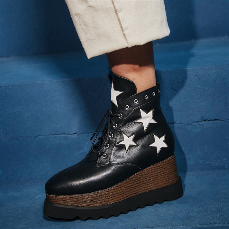 New Fetish High Top Casual Shoes Lace up Platform wedge heel ankle Boots for Women patchwork real leather white star Botas Mujer